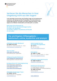 Flyer des Unabhängigen Beauftragten für Fragen des sexuellen Kindesmissbrauchs mit verschiedenen Hilfetelefonnummern