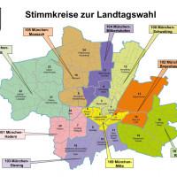 Die Stimmkreiskarte für München