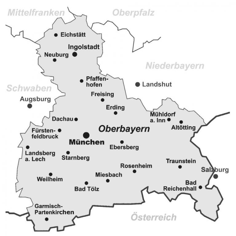 Übersichtskarte Bezirk Oberbayern